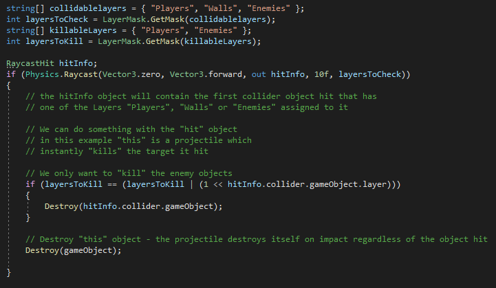 Unity Code Example - Raycast Multiple Layers and check multile layers with sample code