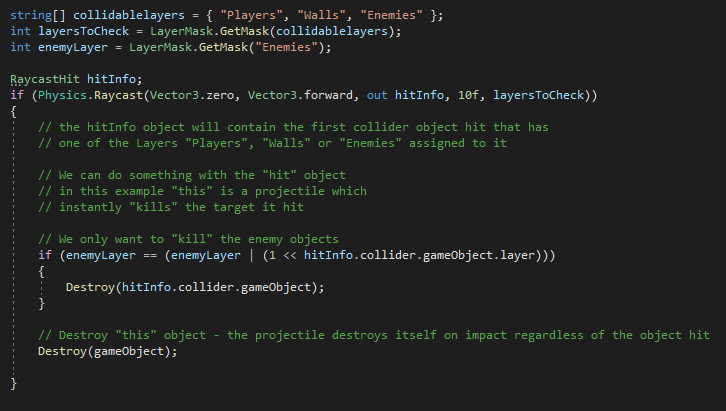 Unity Code Example - Raycast Multiple Layers and check single layer with sample code