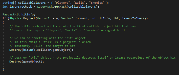 Unity Code Example - Raycast Multiple Layers with sample code
