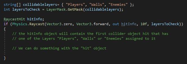 Unity Code Example - Raycast Multiple Layers