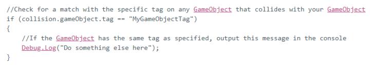 Unity Collision Documentation - Tags